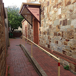 Entrance to community hall, in walk laneway to left of North Adelaide Post Office