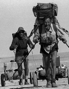 Conservationist walker Warren Bonython with former geology teacher Terry Kreig during trek around Lake Eyre in 1982. Picture: Barry Hartley