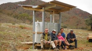 Mark Proctor, Mal Kirkham, Zara Chessell, Duncan Chessell and Dean Johnson at the Yudnamutana water tank