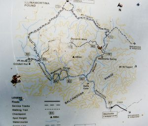 Basic map of walking trails in Vulkathunha-Gammon Ranges National Park