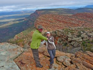 Dancing with Lesley on the rim of Wilpena Pound